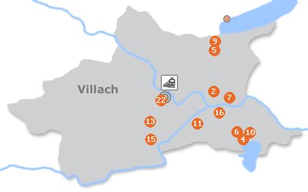 Karte mit Pensionen und anderen Unterkünften in Villach