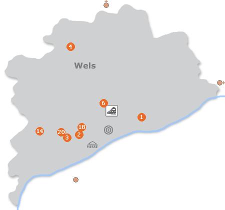 Karte mit Pensionen und anderen Unterkünften in Wels