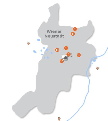 Karte mit Pensionen und anderen Unterkünften in Wiener Neustadt