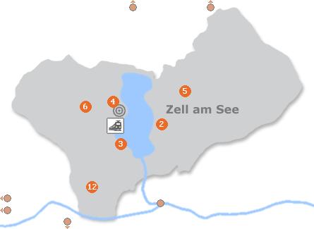 Karte mit Pensionen und anderen Unterkünften in Zell am See