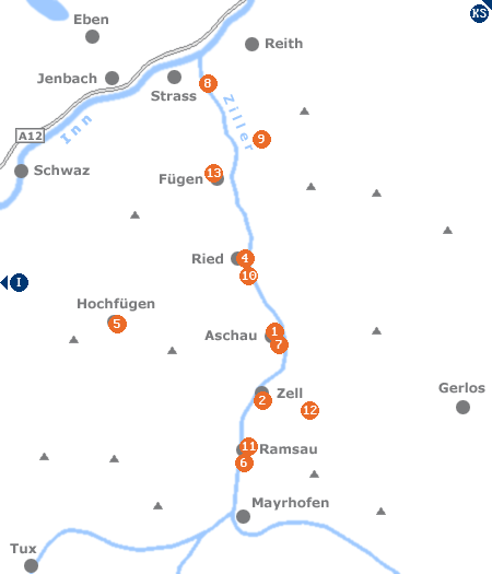 Karte mit Pensionen und anderen Unterkünften im Zillertal